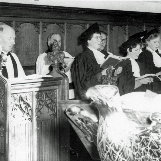 Vicar and church choir in St Margaret's Church. C1953