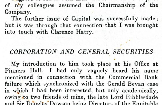 Clarence Hatry of The Hermitage and his finances, from 'Statesmen, Financiers and Felons'