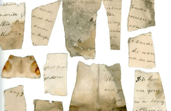 Fragments from a letter found behind a dormer wall at the old Cliffe House School dated 1847