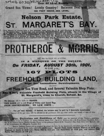 A notice advertising building plots for sale at Nelson Park by auctioneers Protheroe & Morris on 30 August 1901
