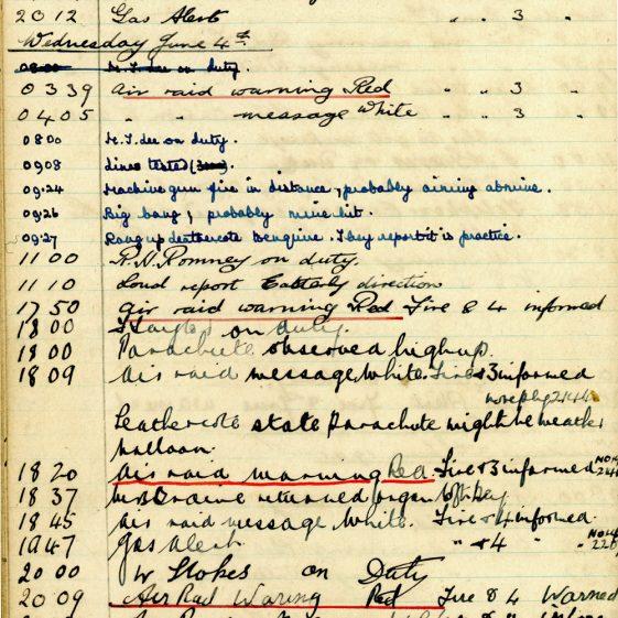 St Margaret's ARP (Air Raid Precautions) Log. Volume 4. 18 February 1941 - 25 September 1941. Pages 81-89