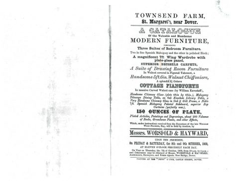 Catalogue of sale by auction of items from Townsend Farm. 8/9 October 1869