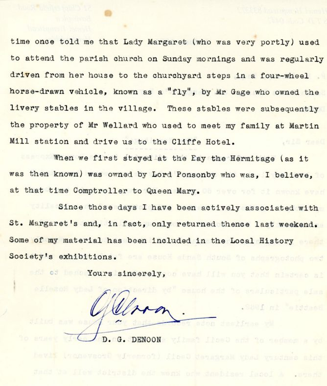 Letter from Gordon Denoon to Fred Cleary re Lord Ponsonby, Lady Margaret Cecil and 'The Hermitage'