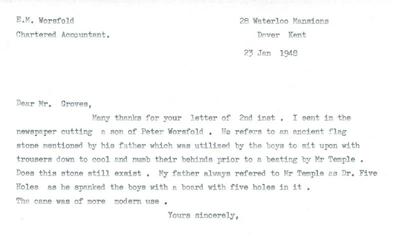 Letter re punishments at Cliffe House School. 1948