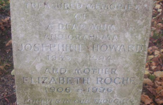 Gravestone of ROECHE Elizabeth 1996; HOWARD Josephine 1994