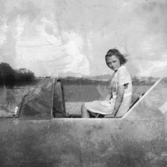 Jean Weir and a downed Messerschmitt 109 at Solton Manor. August 1940