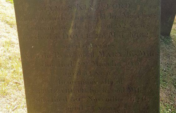 Gravestone of KINGSFORD James 1827; KINGSFORD Mary 1796; KINGSFORD Elizabeth 1826