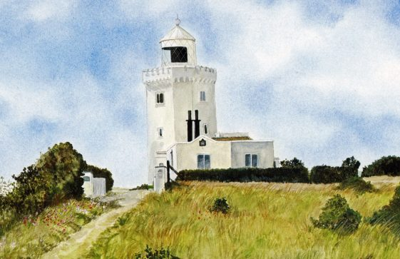 A watercolour of the South Foreland Lighthouse by Melissa Haselden 20th Century