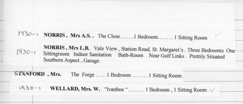 Accommodation available in St Margaret's. 1930 - 31