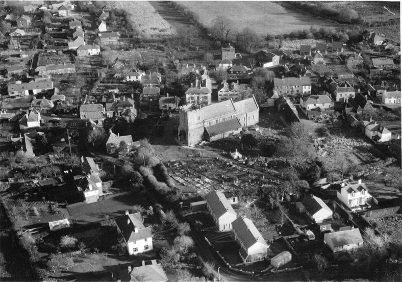 Aerial view of St Margaret's Church from the south west.  1960s
