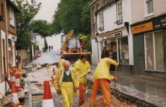 Road works in the High Street. June 1986