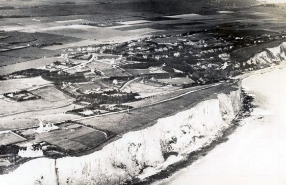 Aerial view of St Margaret's Bay and St Margaret's at Cliffe from the sea.1932