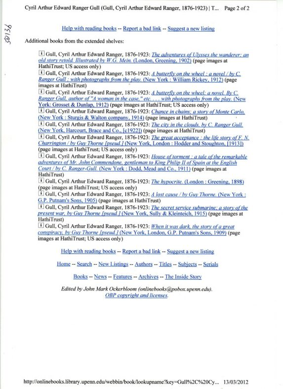 Two page list of on-line books by C Ranger Gull one time resident of Wanstone Farm