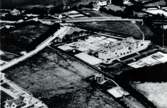 Aerial view of the Coastguard cottages at the top of Bay Hill. 1926