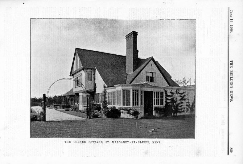 An article from The Building News dated 15th June 1906 about 'The Corner Cottage', Hotel Road