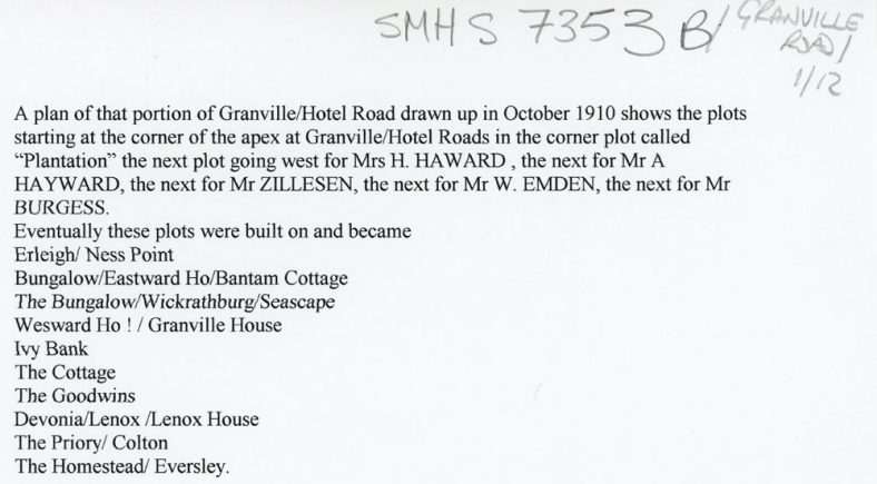 Granville Road Houses and Residents. 1910