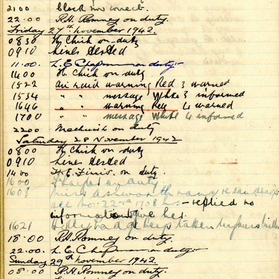 St Margaret's ARP (Air Raid Precautions) Log. Volume 6. 17 July 1942 - 16 February 1943. Pages 86-94