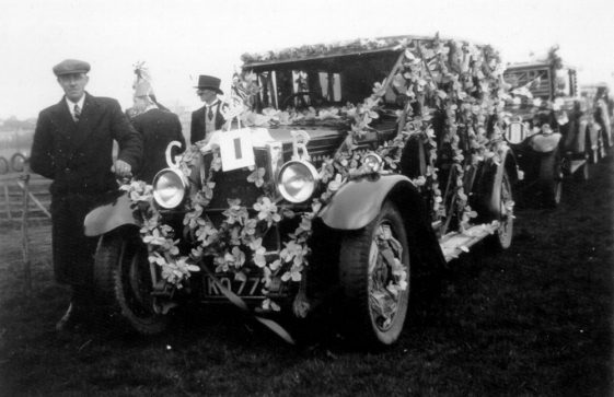Eric Finnis with his car decorated for King George VI Coronation celebrations