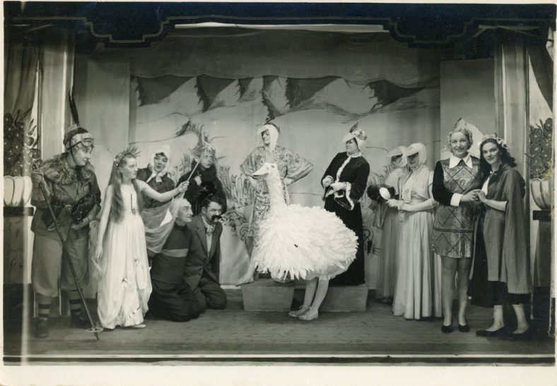 Scene from St Margaret's Players pantomime 'Mother Goose'. Probably 1950s