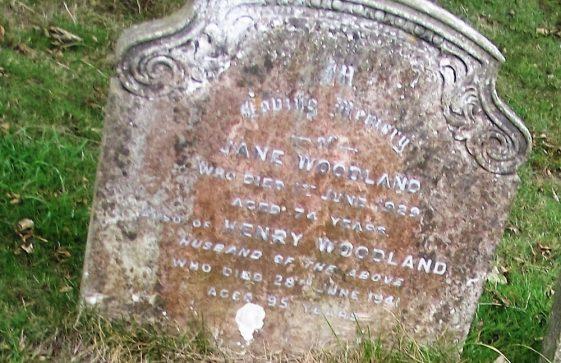 Gravestone of WOODLAND Jane 1929; WOODLAND Henry 1941
