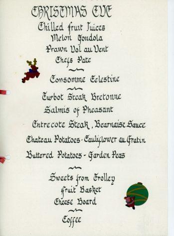 Granville Hotel, Hotel Road: Christmas Menus 1978