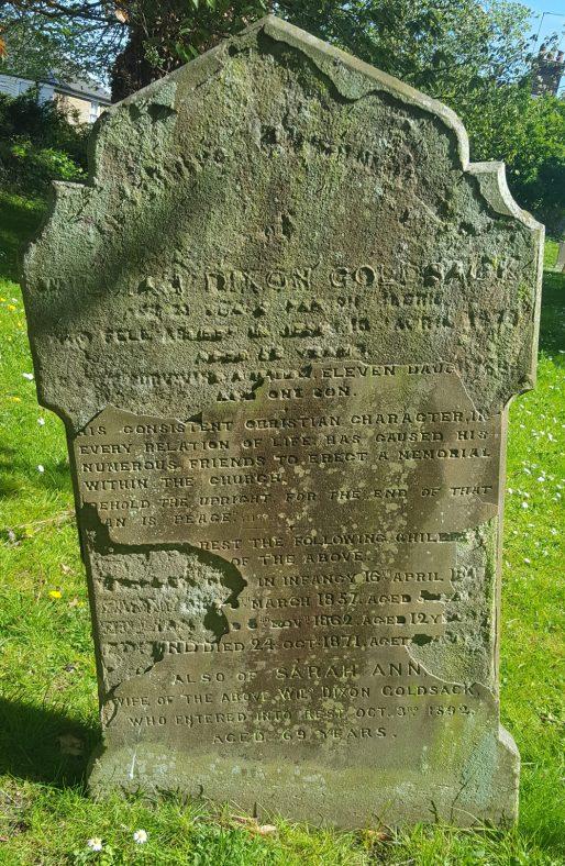 Gravestone of GOLDSACK William Dixon 1878; GOLDSACK Sarah Ann 1892; GOLDSACK William 1845; GOLDSACK Fanny 1857; GOLDSACK William 1862; GOLDSACK Edmund 1871 | Dawn Sedgwick