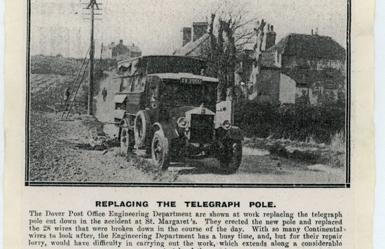 Press cutting with a picture of engineers replacing a telegraph pole in Station Road.  17th April 1941