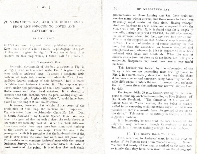 'The Early History of the Bay. St Margaret's Bay and the Roman Roads from Richborough to Dover and Canterbury', an article by Cecil Knox
