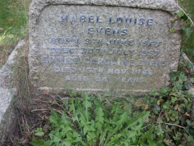 Gravestone of EVENS Mabel Louise 1957; EVENS Eunice Caroline1966