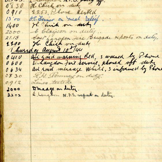 St Margaret's ARP (Air Raid Precautions) Log. Volume 8. 25 October 1943 - 10 August 1944. Pages 133-140