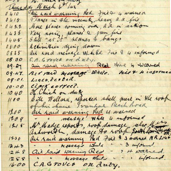 St Margaret's ARP (Air Raid Precautions) Log. Volume 7. 15 February 1943 - 25 October 1943. Pages 11-21