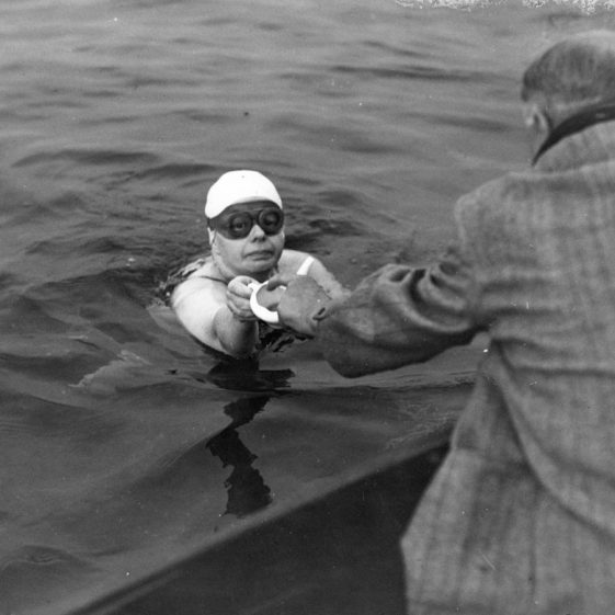 Brenda Fisher of Grimsby who successfully completed her Channel swim on 21 August 1954
