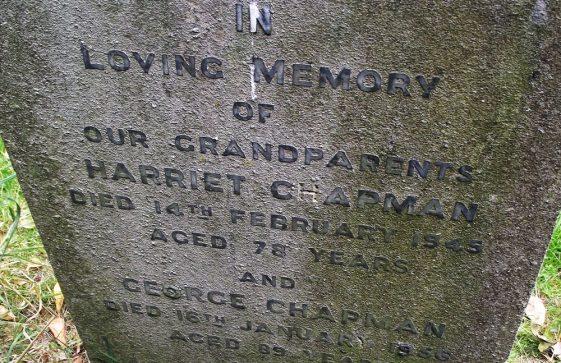 Gravestone of CHAPMAN Harriet 1945; CHAPMAN George 1956