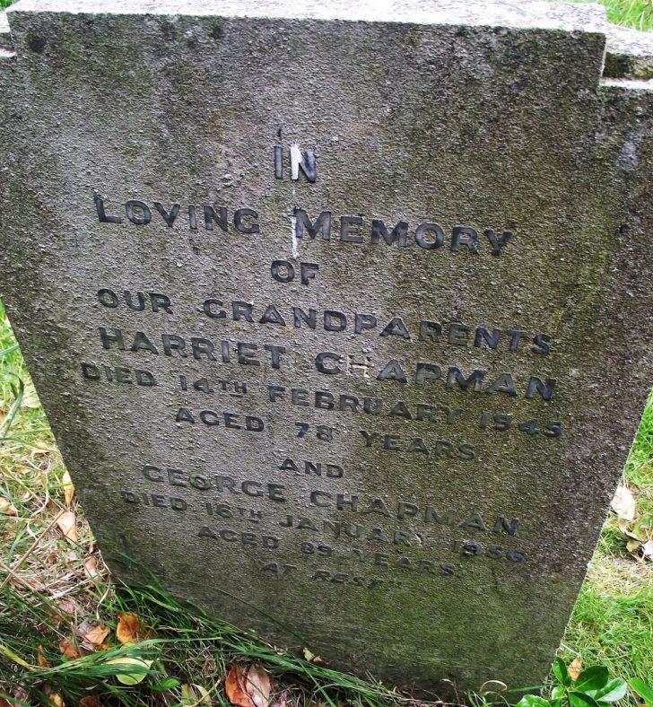 Gravestone of CHAPMAN Harriet 1945; CHAPMAN George 1956   Dawn Sedgwick