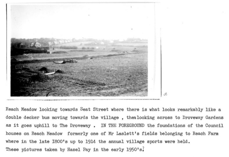 Reach Meadow views and council estate footings. 1950s