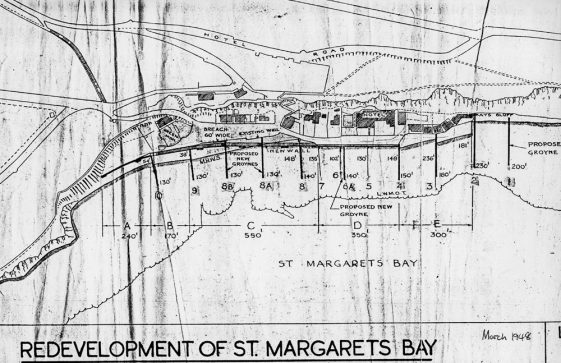 A proposed plan for the new sea defence wall at St Margaret's Bay march 1948