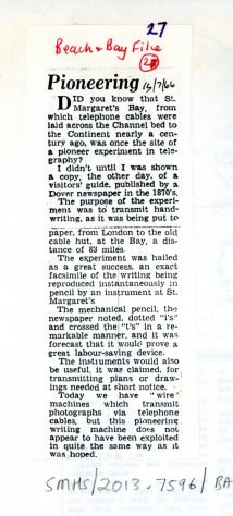 Experiment in the transmission of writing to St Margaret's Bay. 1966