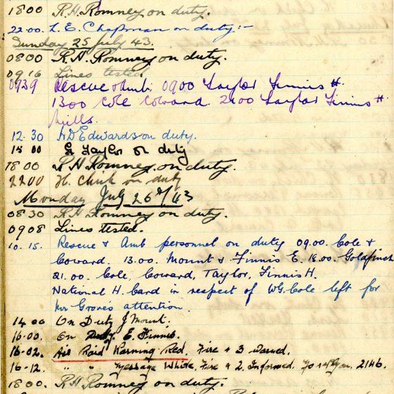 St Margaret's ARP (Air Raid Precautions) Log. Volume 7. 15 February 1943 - 25 October 1943. Pages 94-104
