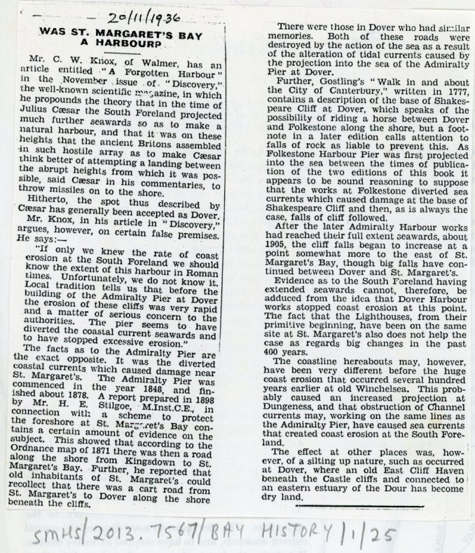 'Was St Margaret's Bay a Harbour' reply to a previous article. 1936