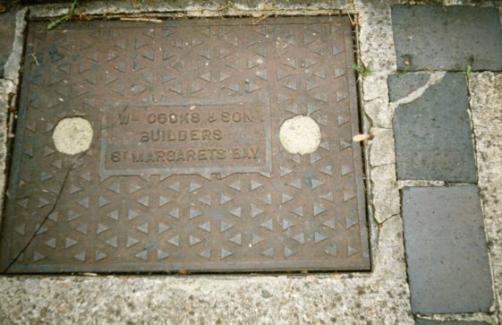 Metal drain covers in garden of Rose Cottage, Kingsdown Road. 1990