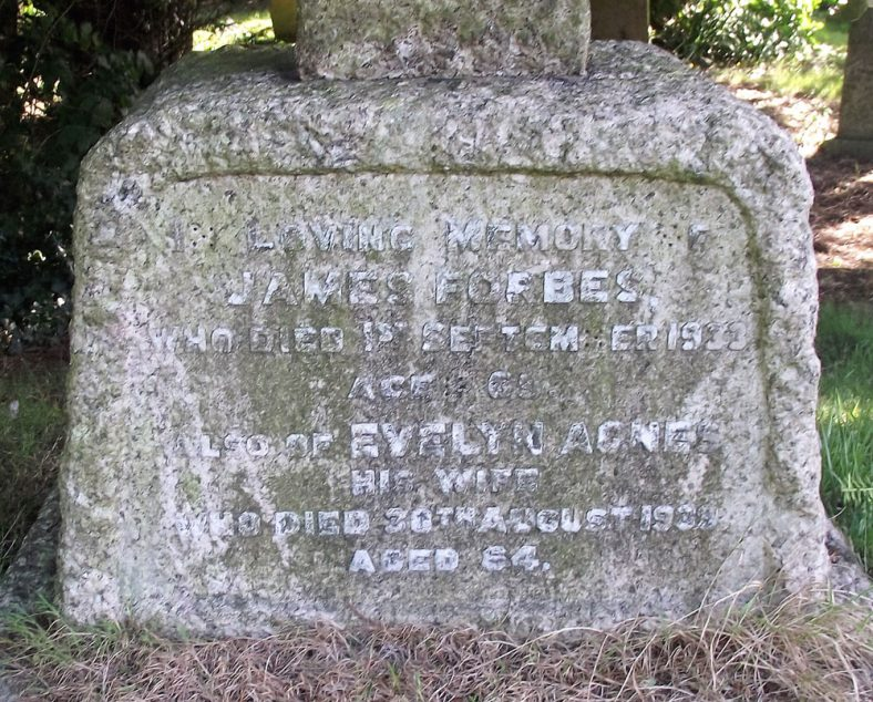 Gravestone of FORBES James 1933; FORBES Evelyn Agnes 1939 | Dawn Sedgwick