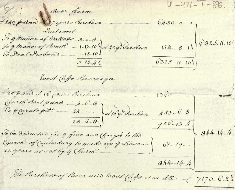 Bere Farm and Westcliffe Parsonage rents and purchase. c1770