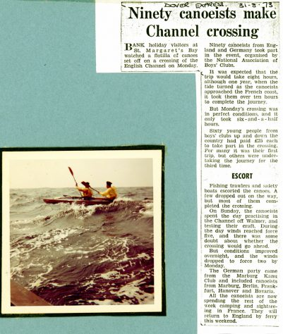 Canoeists attempt crossing the English Channel.  August 1973