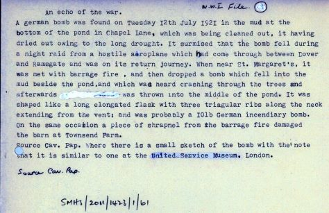 Discovery of an unexploded bomb in Chapel Lane Pond. 1921