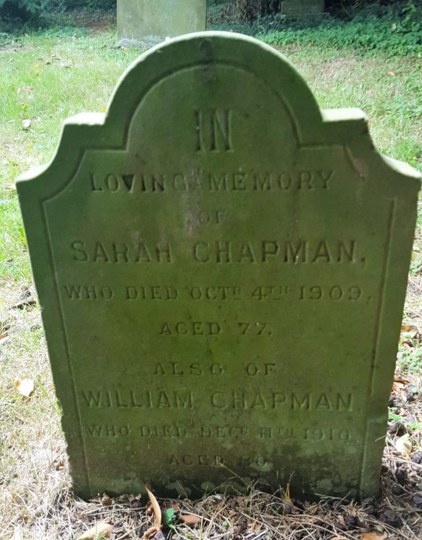 Gravestone of CHAPMAN Sarah 1909; CHAPMAN William 1910   Dawn Sedgwick