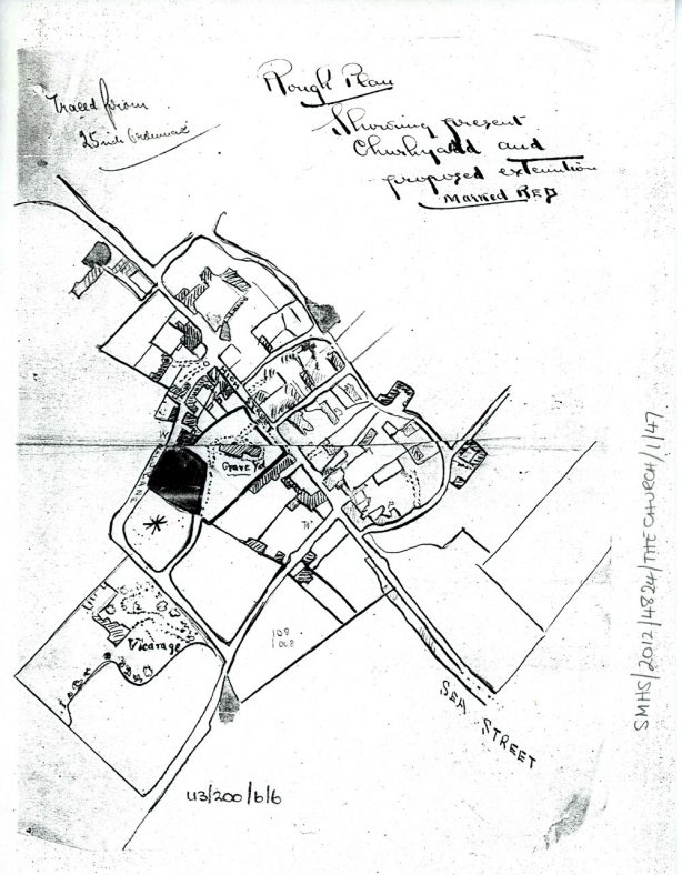 Plan of proposed churchyard extension. Late 19th century