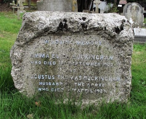 Gravestone of BUCKINGHAM Emma Eliza 1922; BUCKINGHAM Augustus Thomas 1923