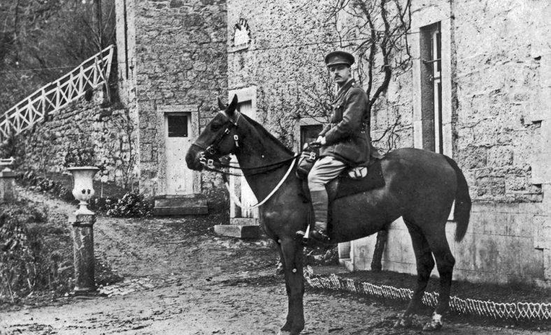 Cuthbert Hancock astride his horse, 15th December 1918