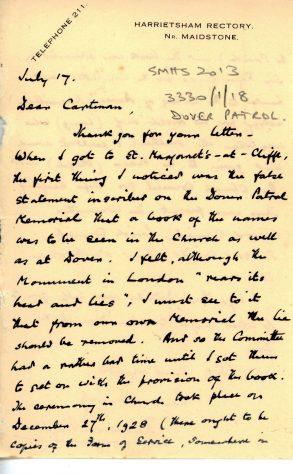 Letter from Rev Richard Staple to Rev FJ Cartman regarding the Dover Patrol Memorial Book.1928