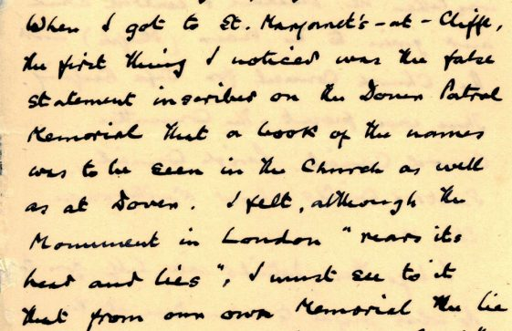 A letter dated July 17 (post) 1928 from Rev Richard Staple to Rev FJ Cartman regarding the Dover Patrol Memorial Book
